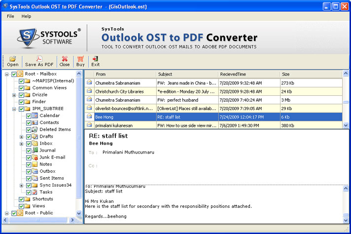 OST Emails Convert to PDF - OST2PDF Software